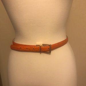 Lauren Ralph Lauren   Croc Embossed Skinny Belt